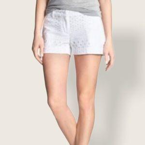 BANANA REPUBLIC Geo Eyelet Clean White Shorts